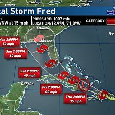 Tropical Storm Fred moving over the ...