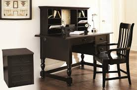painted office furniture. 4 Piece Home Office Furniture Set Desk Hutch Arm Chair File Cabinet Black Painted Finish R