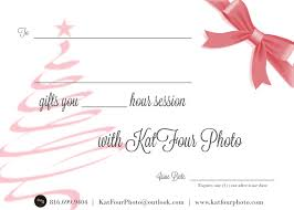 holiday gifts katfour photo christmas gift certificate front