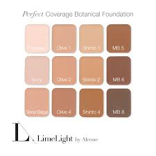 limelight foundation colors botanical foundation chart