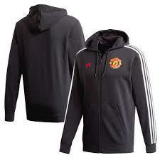 Manchester United 3 Stripe durchgehendem Reißverschluss Kapuzenpullover -  Schwarz
