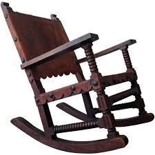 mexican spanish style rocking chair venadillo wood and leather c 1940