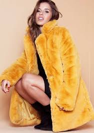 paige mustard faux fur coat