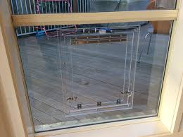 glass fitting dog door with barrel bolts