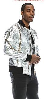 angel cola mens metallic faux leather er flight jacket with zippers silver