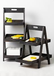 wooden ladder shelf furniture. Fine Looking Dark Finished Wooden Ladder Shelf As Basket Storage Added White Wall Painted Remodeling Furniture Ideas