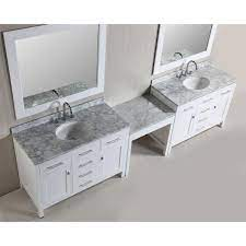 July 29, 2021 edit 48 bathroom vanity with makeup area | try the suggestions below or type a new query above. Design Element Two London 48 In W X 22 In D Vanity In White With Marble Vanity Top In Carrara White Mirror And Makeup Table Dec076c Wx2 Mut W The Home Depot