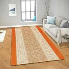 geometrical design gel back orange rugs
