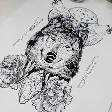 оригинальный универсальный эскиз тату волки 249