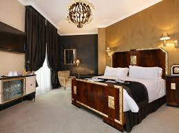 Gold And White Bedroom Ideas With Black Accents And Cherry Wood Furniture