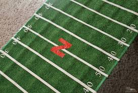 catchy football field area rug diy football field table cover college football tailgate party