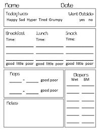 Daycare Organizational Chart Preschool Toddler Daily Report Chart Preschool Daily