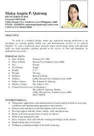 sample resume for nurses. Filipino Nurse Resume Sample Talktomartyb