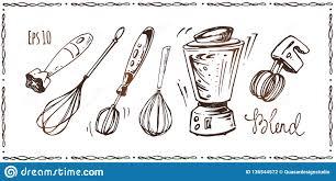 комплект приборов кухни эскизы нарисованные рукой иллюстрация