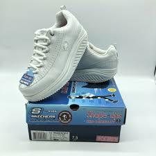 skechers shape ups womens 7 wide 76428 white leather slip resistant work shoe