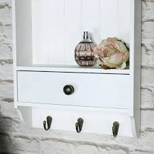 wall shelves with hooks white wooden wall unit 2 shelves hooks drawer storage kitchen ikea wall