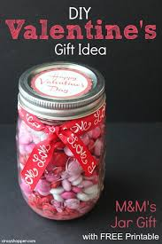 diy valentine s day gift m m s in jar with free printable label