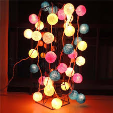 Decorative String Balls Best 32bulbset Cotton Balls Christmas Decorative LED Lights String
