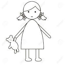 かわいい漫画の女の子は白い背景で隔離シンプルなフラット デザイン