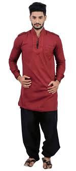Pakistani Kabli Punjabi Design Blended Cotton Pathani Suit In Red And Maroon With Resham Work