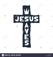 Cross Art Design Jesus Saves Religious Lettering Brush Illustration Art