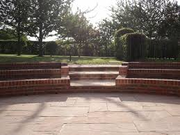 sandstone patio view full indian sandstone patio complimented with beautiful curved brick plante