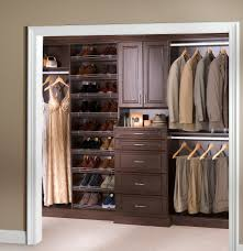 brown wood home depot closet organizer with drawers and hanging clothes for mesmerizing home storage ideas