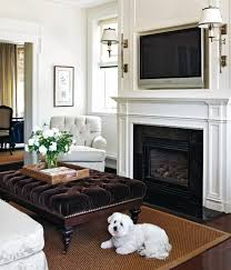 elegant fireplace mantel height with tv above