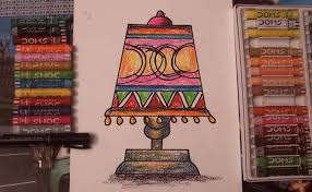 How To Draw A Table Lamp For Kids Oil Pastels Welcome To Dilip Art