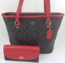 New COACH F58294 Zip Top Tote Handbag Purse Shoulder Bag Brown True Red+  Wallet