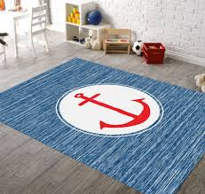 image of blue nautical rugs for nursery