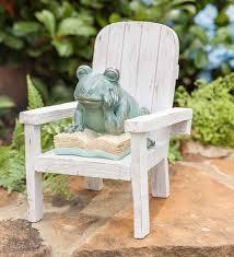 reading frog garden statue