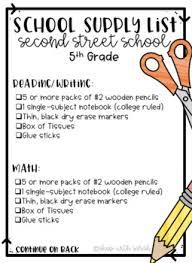 School Supplies List Template School Supply List Editable