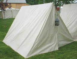 Standard white canvas, single door A-frame tent. Provides three extra feet  of length to fit an extra cot or equipment across the back of the tent.