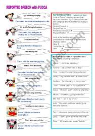 Reported Speech With Pucca Esl Worksheet By Bburcu