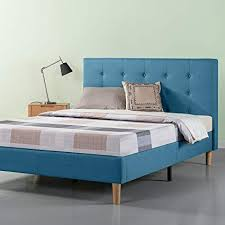 blue platform bed. Fine Blue Zinus Upholstered Button Tufted Platform Bed  Strong Wood Slat Support  Riverside Blue Full On Blue U