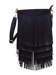 hde hde leather fringe shoulder bag cross tassel handbag women s purse black com