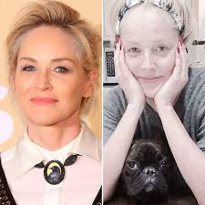 sharon stone shares a stunning makeup free selfie plus see more celebrities with and