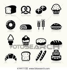パン屋 ペストリー アイコン セット Bread クリップアート切り張りイラスト絵画集