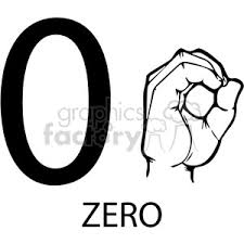 zero clipart black and white. Plain And ASL Sign Language 0 Clipart Illustration Worksheet And Zero Clipart Black White