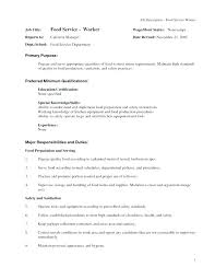 Food Service Job Description For Resume