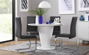 gallery paris round white high gloss dining table with 4 perth grey chairs