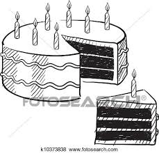 Birthday Cake Sketch Clip Art K10373838 Fotosearch