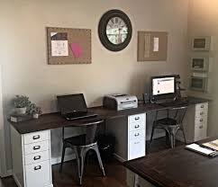 two person wall length desk at the new house ikea file cabinets with oak plank top used general finishes java gel stain on wood top
