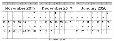 Calendar 2019 November December 2020 January Blank Png
