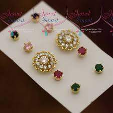 er7359 changeable 5 colour earrings fl design semi precious stones jewellery