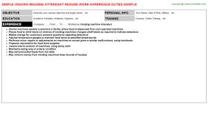 Vending Machine Attendant Magnificent Vending Machine Attendant Resume Resumes Templates