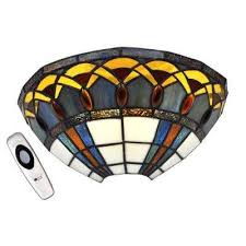 stained glass half moon with jewels led sconce with 3 stage dimmer
