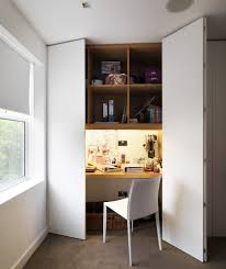 hidden home office. Large Doors, Desk Hidden, Computer Nook In Closet #homeoffice Hidden Home Office U
