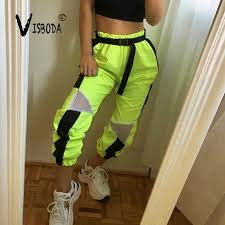 Women Loose Baggy Trousers Fashion 2019 Ladies <b>Neon Green</b> ...